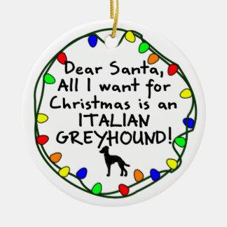 Dear Santa Italian Greyhound Round Ceramic Decoration