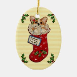 """Dear Santa, I've been very good!"" Corgi Ornament"
