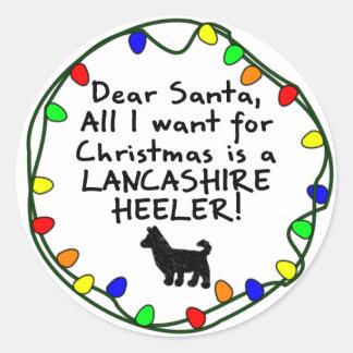 Dear Santa Lancashire Heeler Round Sticker