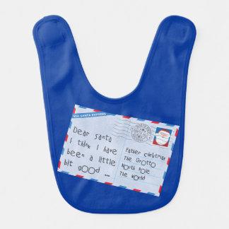 Dear Santa Little Bit Good Worn Blue Bib