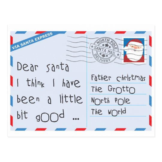 Dear Santa Little Bit Good Worn Postcard