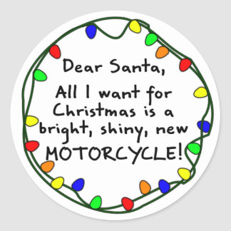 Dear Santa Motorcycle Classic Round Sticker