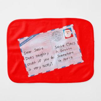 Dear Santa Naughty Done Nicely Red Baby Burp Cloths