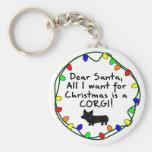 Dear Santa Pembroke Welsh Corgi Basic Round Button Key Ring