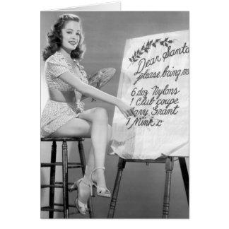 Dear Santa Pinup Girl Greeting Card