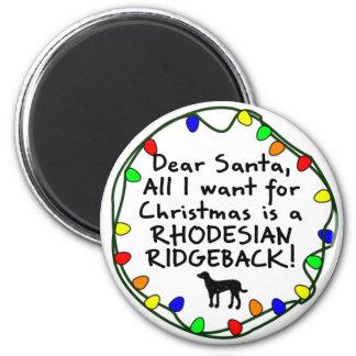 Dear Santa Rhodesian Ridgeback Magnet