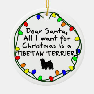 Dear Santa Tibetan Terrier Christmas Ornament