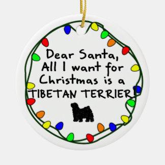 Dear Santa Tibetan Terrier Round Ceramic Decoration
