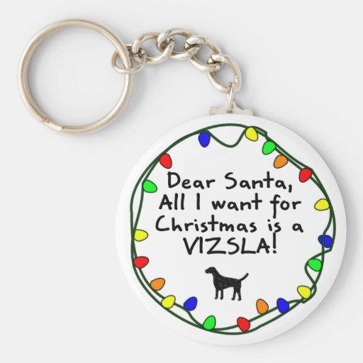Dear Santa Vizsla Keychain