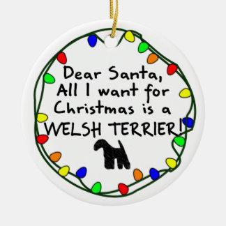 Dear Santa Welsh Terrier Round Ceramic Decoration
