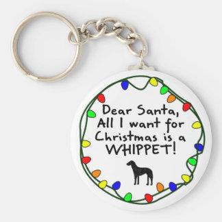 Dear Santa Whippet Key Ring
