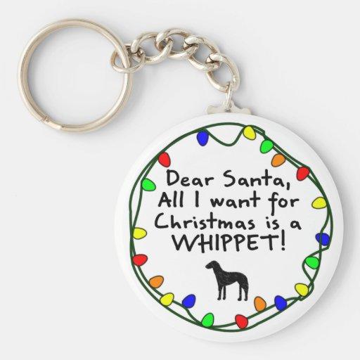 Dear Santa Whippet Keychain
