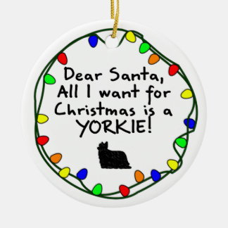 Dear Santa Yorkie Christmas Ornament