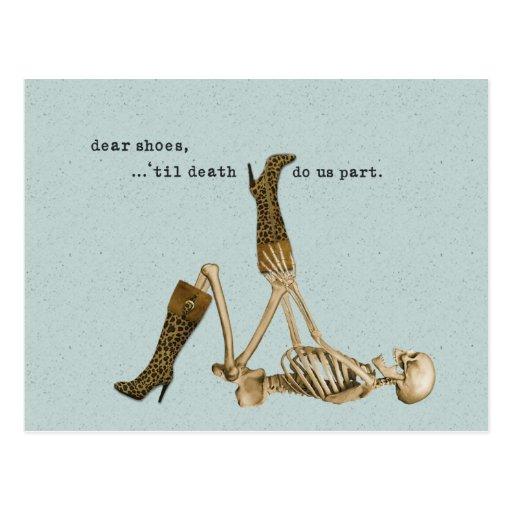 Dear Shoes Skeleton in Love Postcards