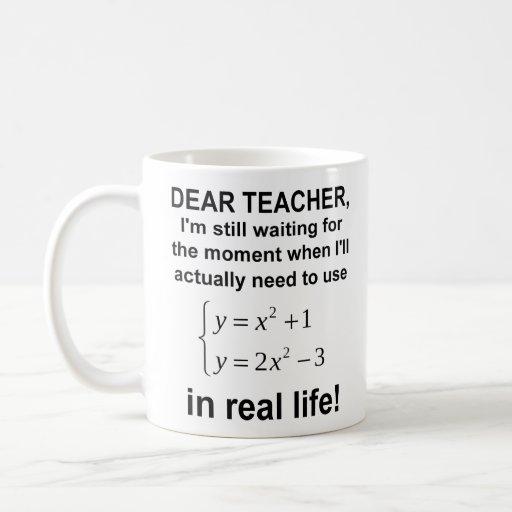 Dear Teacher Real Life Math Funny Mug