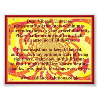 Dear Vibrant Universe Prayer on Decorative Art Photo Art
