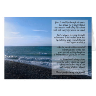 Dearest Friend Poem Note Card