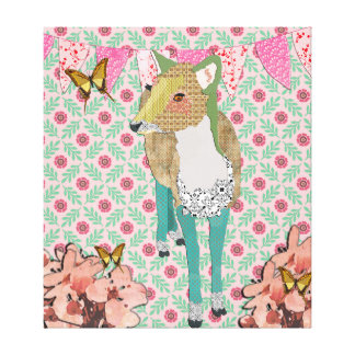 Dearly Deer Floral Canvas Art Gallery Wrap Canvas