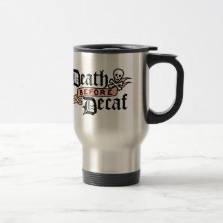 Death Before Decaf | Cute Skull Typography Stainless Steel Travel Mug
