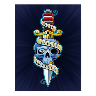 Death Before Dishonor Knife Design Postcard