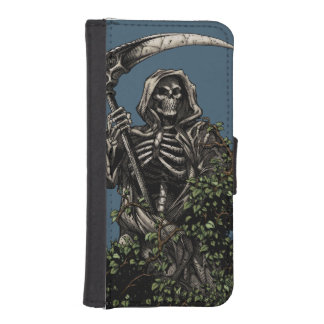 Death - Evil Skeleton Grim Reaper with Scythe iPhone SE/5/5s Wallet Case