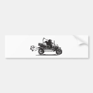 Death in a vintage car bumper sticker