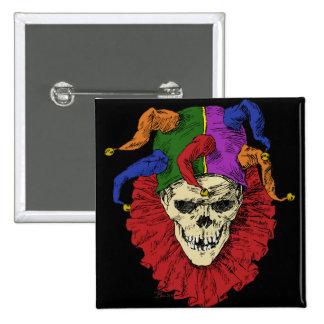 Death Jester Clown Skull 15 Cm Square Badge