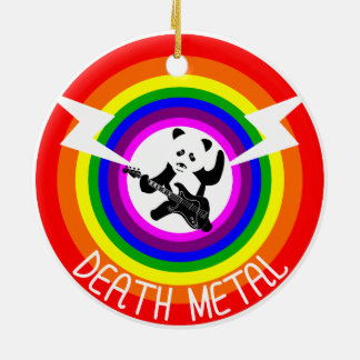 Death Metal Panda Rainbow Round Ceramic Decoration