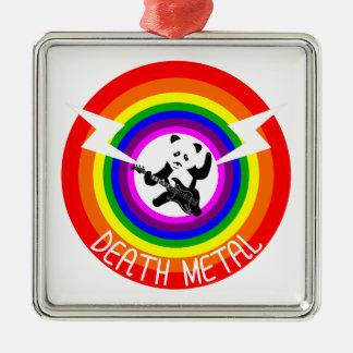 Death Metal Panda Silver-Colored Square Decoration