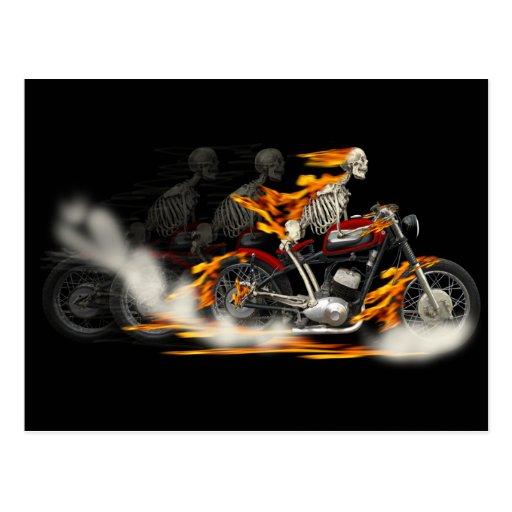 Death Metal Riders Motorcycle Art Post Card