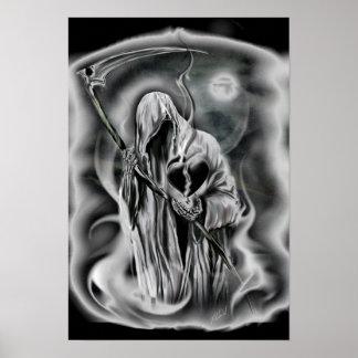death of love, broken black heart, grim reaper poster