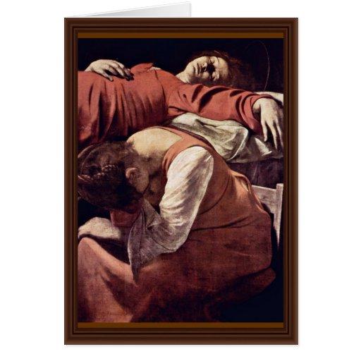 Death Of The Virgin Detail By Michelangelo Merisi Card
