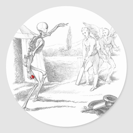 Death Plays Cricket Round Sticker