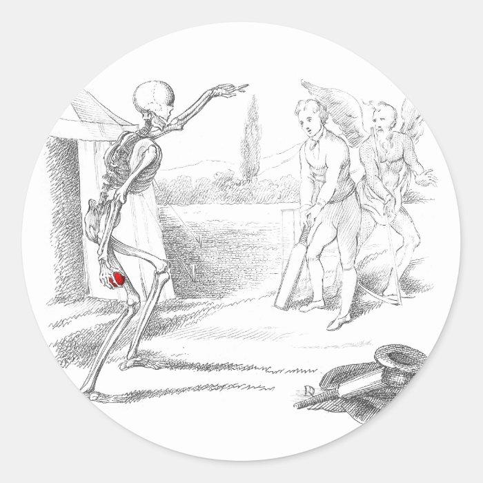 Death Plays Cricket Round Sticker