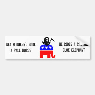 Death rides a red and blue elephant bumper sticker
