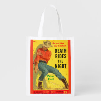 Death Rides the Night western book cover Reusable Grocery Bag