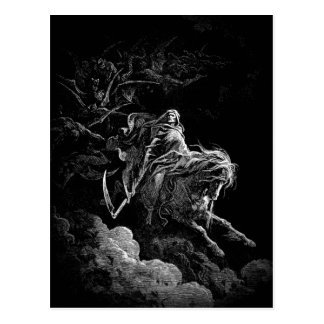 Death riding accross a night sky postcard