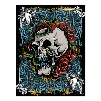 Death Skull Grave RIP Skeleton Postcard