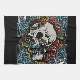 Death Skull Grave RIP Skeleton Tea Towel