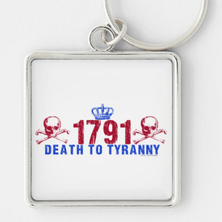 Death to Tyranny Silver-Colored Square Key Ring