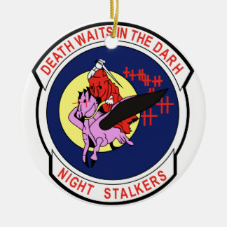 Death waits in the Darh Night Stalkers Round Ceramic Decoration