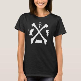 Deathrock Goth Kitty Cat Ankh Bat Bones T-Shirt