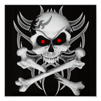 Death's Skull and Crossbones Poster