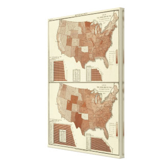 Deaths statistical map canvas print