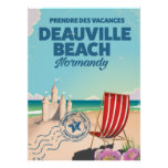 deauville beach france vintage holiday poster