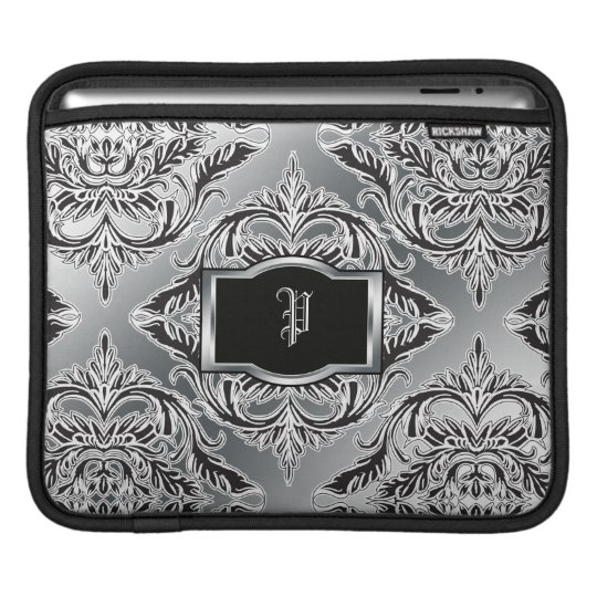 Debonair Damask Black, White, Silver iPad Sleeve