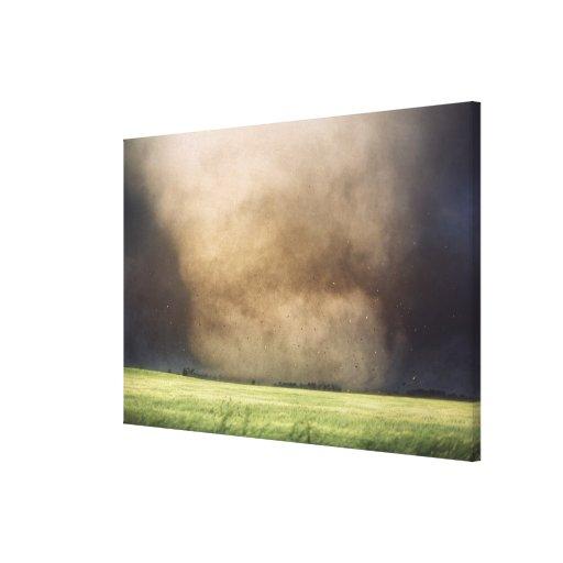 Debris flies just after this violent tornado destr gallery wrapped canvas
