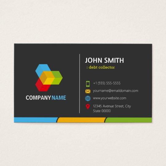 Debt Collector - Stylish Dark Colourful Business Card