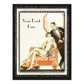 Decadent 1920s Art Deco Avant Garde Couple Custom 21.5 Cm X 28 Cm Flyer