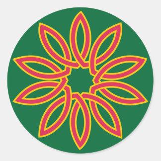 Decagon bloom round sticker